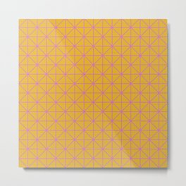 Line Work Geometric Triangle Pattern in Pink and Yellow Metal Print