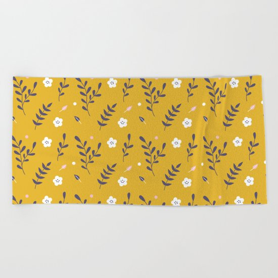 Mustard Floral Pattern Beach Towel