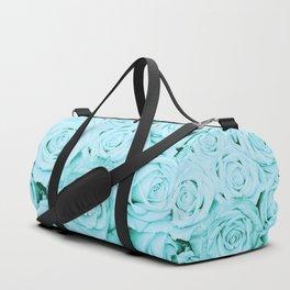 Turquoise roses - flower pattern - Vintage rose Duffle Bag