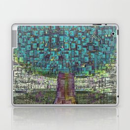 Tree Town - Magical Retro Futuristic Landscape Laptop & iPad Skin
