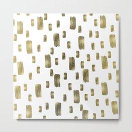 Modern Paint Brush Gold Copper Bronze Sparkle Metal Print