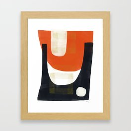 Vermillion and Navy Scoop with Masking Tape Framed Art Print