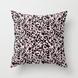 Terrazzo Spots Black on Blush Repeat Throw Pillow