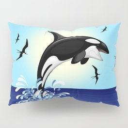 Orca Killer Whale jumping out of Ocean Pillow Sham