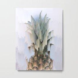 Glitch Pineapple Metal Print