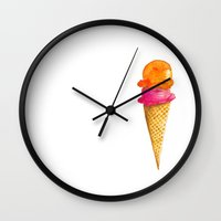 icecream Wall Clocks featuring Lovely Icecream by Ioana Petre