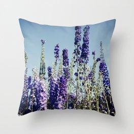 Delphinums, fairbanks alaska Throw Pillow