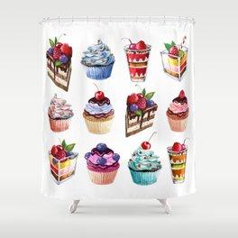 cupcake and ice-cream Shower Curtain