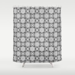 Floral Lotus Mandala Grey Shower Curtain
