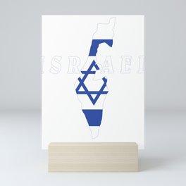 Israel Flag Map - Jew Jersualem Pride Gift Mini Art Print