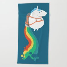 Fat Unicorn on Rainbow Jetpack Beach Towel