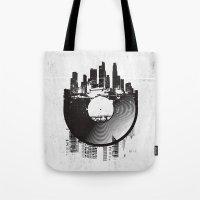 deadmau5 Tote Bags featuring Urban Vinyl by Sitchko Igor