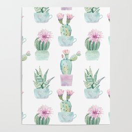 Simply Echeveria Cactus in Pastel Cactus Green and Pink Poster