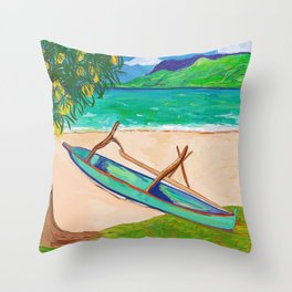 Tahiti Outrigger Throw Pillow