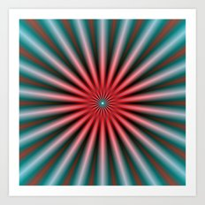 Rays in Turquoise and Pink Art Print