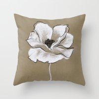 poppy Throw Pillows featuring Poppy by Mich Li