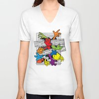 cartoons V-neck T-shirts featuring Cartoons Attack by luis pippi