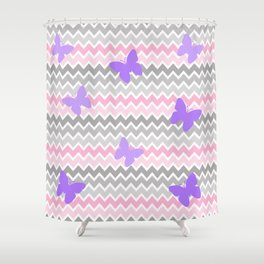 Pink Grey Ombre Chevron with Purple Butterflies Shower Curtain