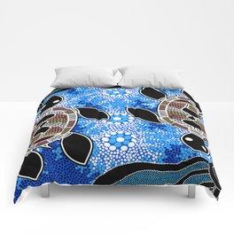 Sea Turtles - Authentic Aboriginal Art Comforters