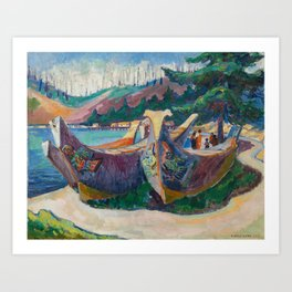 War Canoes by Emily Carr Art Print