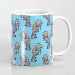 Blue Watercolor Manatee Pattern Coffee Mug