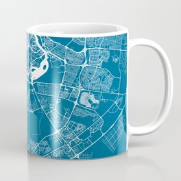 Blue City Map of Dubai, UAE Coffee Mug