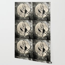 Black White Crows Birds Tree Moon Landscape Home Decor Matted Picture Print A268 Wallpaper