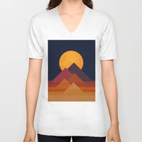 minimalist V-neck T-shirts featuring Full moon and pyramid by Picomodi