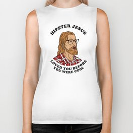 Hipster Jesus Loved You Before You Were Cool Biker Tank