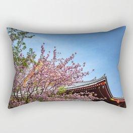 Cherry blossoms at Sensoji Temple in Asakusa, Tokyo, Japan Rectangular Pillow