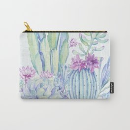 Mixed Cacti Light Blue #society6 #buyart Carry-All Pouch