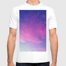 Sunrise series- Cloud of Pink White MEDIUM Mens Fitted Tee