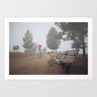 Early commute in the fog Art Print