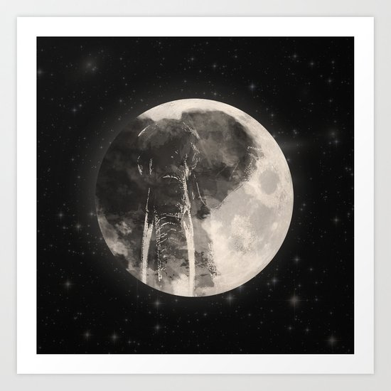 The Elephant in The Moon Art Print