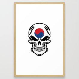 South Korean Flag Skull Framed Art Print