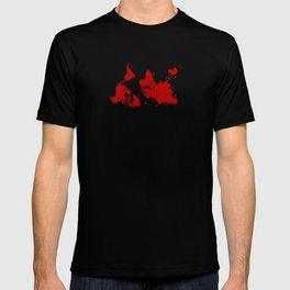 Upside Down World Map - red T-shirt