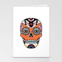 deco Stationery Cards featuring Deco Skull by Jorge Garza