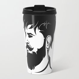 hipster male figure with beard and hair Travel Mug