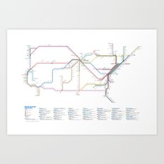 Amtrak as Subway Map 2016 - Sunset Limited Version Art Print