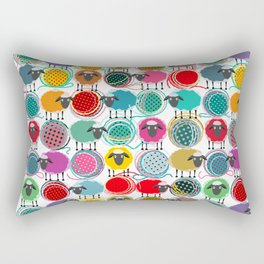 Bright Sheep and Yarn Pattern Rectangular Pillow