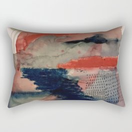 Independent: a red and blue abstract watercolor Rectangular Pillow