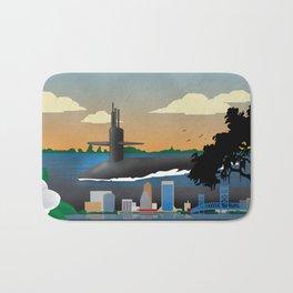 Kings Bay, GA - Retro Submarine Travel Poster Bath Mat