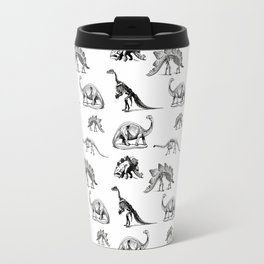 Museum Animals | Dinosaur Skeletons on White Travel Mug