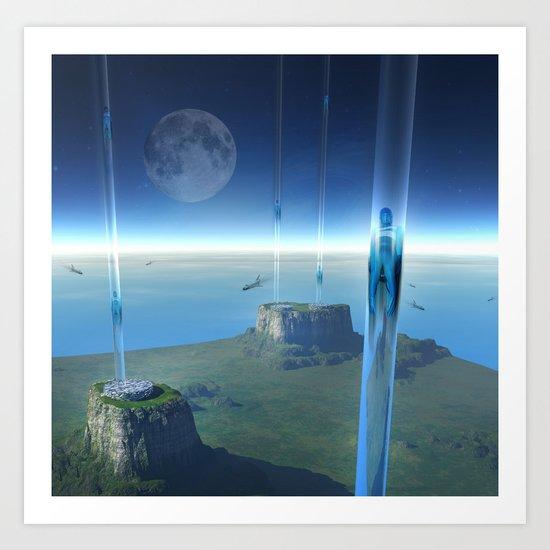 space elevator - babylon transfer station  Art Print