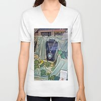 shopping V-neck T-shirts featuring Window Shopping by Frankie Cat