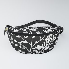 Watercolor Abstract Black White Foliage Floral  Fanny Pack