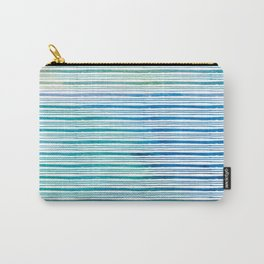 fine aqua handpainted stripes on clear white Carry-All Pouch