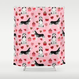 Husky Siberian Huskies dog breed valentines day love pattern print by pet friendly for dog person Shower Curtain