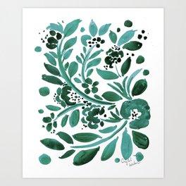 Jade Floral Art Print