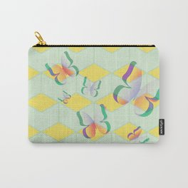 Cut out white paper butterfly green Carry-All Pouch